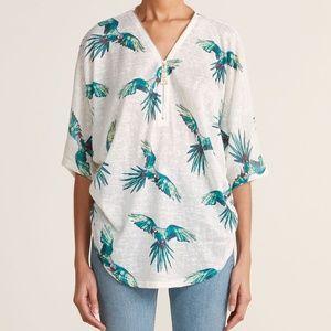 Tropical Parrot Slub Zip Top